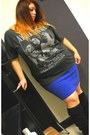 Black-slouchy-random-boots-gray-nirvana-t-shirt-blue-old-navy-skirt