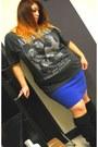 Black-slouchy-random-boots-gray-nirvana-t-shirt-blue-old-navy-skirt