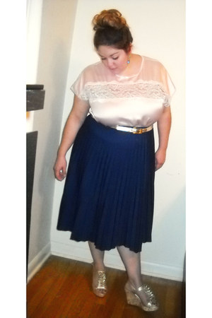 peach thrifted top - gold t-strap wedges - navy pleated thrifted skirt
