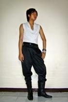 Yohji Yamamoto top - Topshop belt - Mango pants - Nine West boots - human bracel