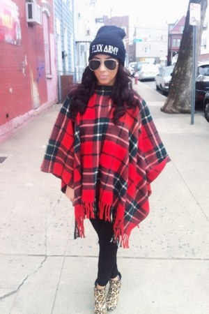 plaid poncho Urban Outfitters top