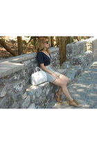 white leather Carpisa bag - white cotton H&M dress