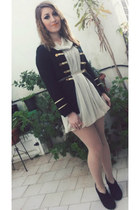 ivory chiffon Motivi dress - black cardigan sammydress blazer
