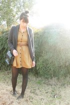 mustard vintage dress - black thrifted bag - gray f21 cardigan - black Urban Out