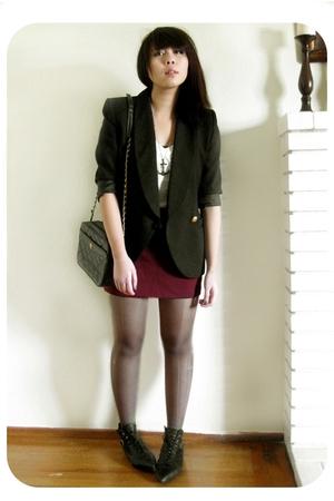 black vintage blazer - red Forever21 skirt - black vintage boots - black vintage