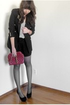 black f21 shoes - black thrifted blazer - brick red thrifted bag
