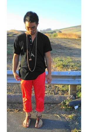 Mervyns glasses - thrifted necklace - American Apparel shirt - H&M pants - Targe