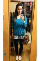 turquoise blue AmericanApparel sweater - black leggings - bronze Zara bag - ligh