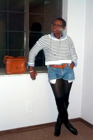 thigh high socks - knee high Chinese Laundry boots - striped cropped H&M sweater