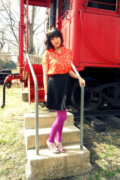 Target tights - unknown brand blouse - Lulus skirt - apt 9 heels