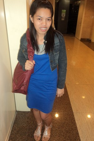 blue Black Sheep dress - red Jimmy Choo bag - studded Celine sandals