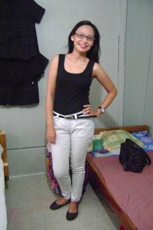 black top - black flats - beige pants - black glasses - black watch