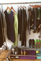 lime green Gabbita Couture dress - deep purple Marciano dress - black Zara pants
