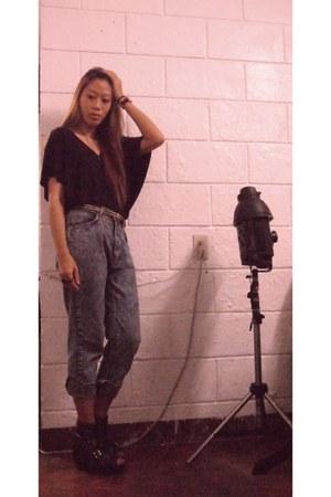 hongkong brand blouse - Mango belt - moms old vintage pants pants - Parisian wed