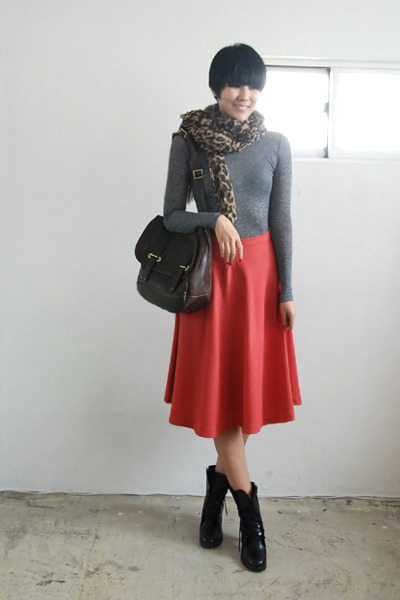 gray top - pink skirt - black shoes - brown accessories