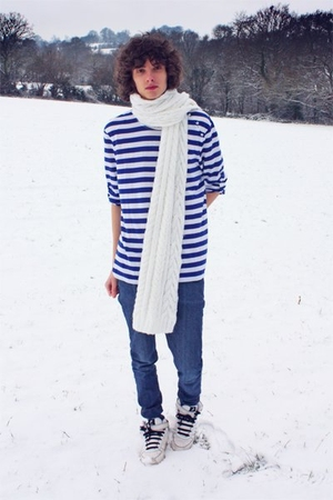 blue STRIPY BLUE&amp;WHITE t-shirt - white OVERSIZE scarf - blue Molly jeans - white
