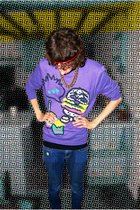 purple H&M top - blue Molly jeans - gold accessories - red sainsburys accessorie