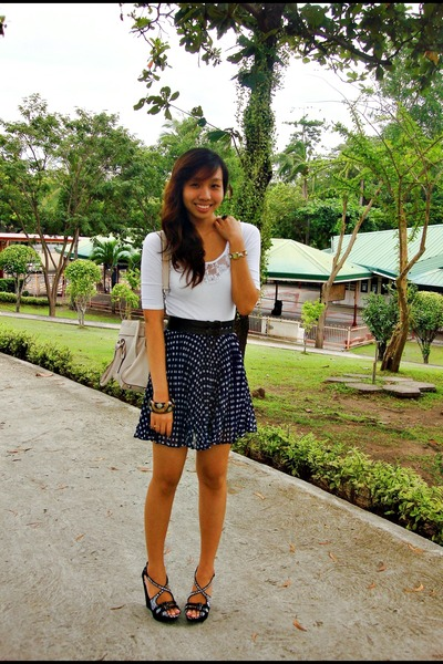 white Rue 21 top - blue thrifted skirt - black Charles and Keith shoes - white M