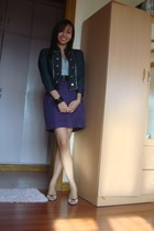 black From Bazaar blazer - silver ESPADA top - black Forever 21 belt - purple Fr