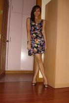 black dress - gold CMG shoes