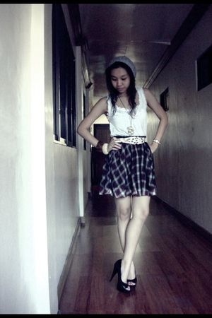 white Promod top - brown Forever 21 skirt - black michael antonio shoes