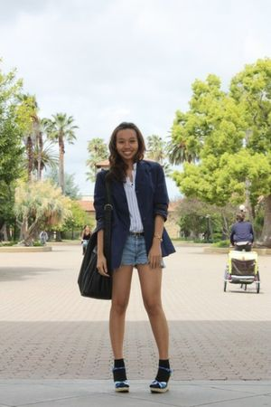 blue talbots blazer - white thrifted shirt - blue thrifted shorts - black access