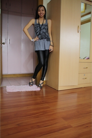 Promod top - Zara leggings - shoes - accessories