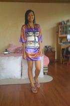purple dress - purple shoes - white belt - black accessories