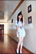 blue Zara top - white Mango shorts - blue Nine West shoes - brown genevieve gozu