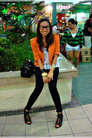 orange from Ebay blazer - white Promod top - black Macys pants - black from Ebay