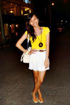 yellow Forever 21 top - white Zara skirt - white from SM department store shoes