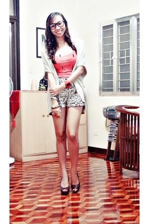 H&M shorts - Topshop top - Zara cape - Steve Madden heels