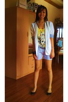 white from Ebay blazer - yellow Zara top - gray Terranova shorts - black Aldo sh