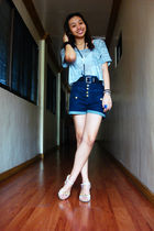 silver papaya top - blue Topshop shorts - white aerosoles shoes - black belt