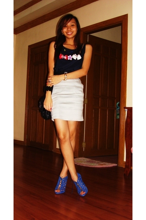 blue from Multiply top - blue from zara shoes - silver from Multiply skirt - bla