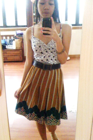 used as top from thrift shop dress - belt - from thrift shop skirt