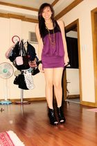 purple Forever21 dress - black Soule Phenomenon boots