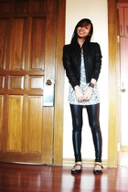 black jacket - white top - black Zara leggings - black Topshop shoes