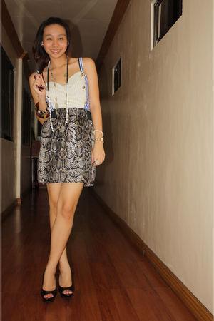 blue Glitterati top - black INC skirt - black michael antonio shoes