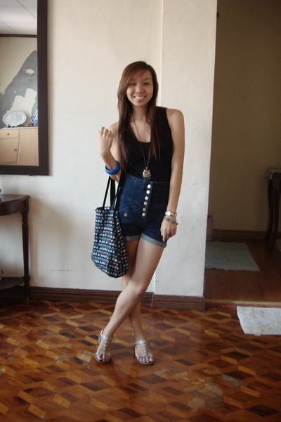 black Zara top - blue Topshop shorts - gray Steve Madden shoes - black Marc by M