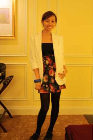 H&M blazer - Topshop top - tights - Topshop shoes