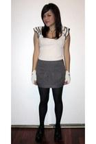 cream H&M blouse - dark gray kensiegirl skirt - black Forever 21 tights - black
