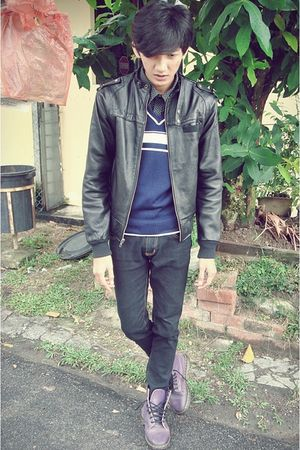 black black leather jacket jacket - blue JET sweater - black Topman shirt - blac