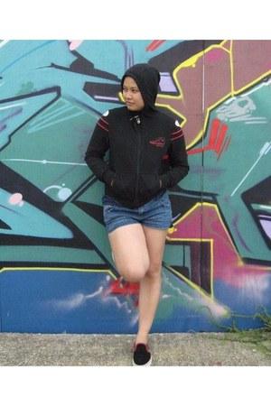 blue Topshop shorts - black VANZ sneakers - black Converse hoodie