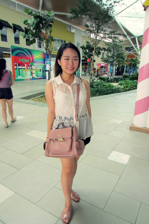 nude Forever 21 top - light pink Charles & Keith bag - black Topshop shorts