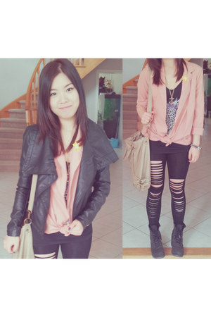 light pink urban behavior blazer - black Frye boots - black Vero Moda jacket