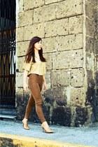 brown Topshop leggings - light brown Waseda crop top