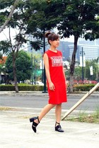 black Jeffrey Campbell shoes - red HK dress
