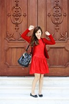 red long dress - red knitted blazer