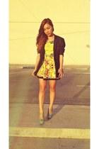 aquamarine WADE shoes - yellow The Ramp dress - black Onesimus blazer